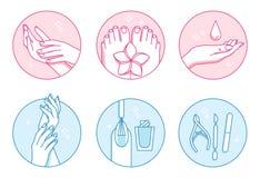 Ícones do vetor do salão de beleza do tratamento de mãos e do pedicure ajustados ilustração royalty free