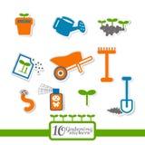 10 etiquetas sobre a jardinagem. Fotografia de Stock