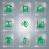 Ícones do vidro verde ajustados Imagens de Stock Royalty Free