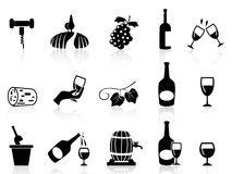 Ícones do vinho da uva ajustados Fotografia de Stock Royalty Free