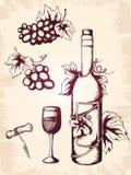 Ícones do vinho do vintage Imagem de Stock Royalty Free