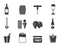 Ícones do vinho e da bebida da silhueta Foto de Stock