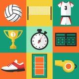 Ícones do voleibol Imagens de Stock