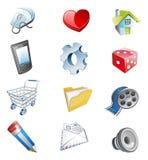 Ícones do Web da cor 3d. Fotos de Stock