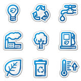 Ícones do Web da ecologia, série azul da etiqueta do contorno Fotografia de Stock Royalty Free