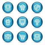 Ícones do Web da eletrônica, série lustrosa azul da esfera ilustração royalty free