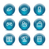 Ícones do Web da esfera de vidro, jogo 21 Fotografia de Stock