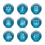Ícones do Web da esfera de vidro, jogo 6 Fotografia de Stock