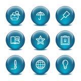 Ícones do Web da esfera de vidro, jogo 9 Fotos de Stock
