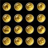Ícones do Web da gota do ouro Fotografia de Stock