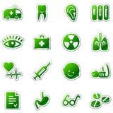 Ícones do Web da medicina, série verde da etiqueta Fotografia de Stock Royalty Free