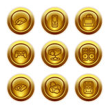 Ícones do Web da tecla do ouro, jogo 21 Imagem de Stock Royalty Free