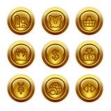 Ícones do Web da tecla do ouro, jogo 24 Fotografia de Stock