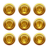 Ícones do Web da tecla do ouro, jogo 6 Foto de Stock