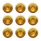 Ícones do Web da tecla do ouro, jogo 8 Imagem de Stock Royalty Free