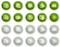 Ícones do Web de uma comunicação do Internet, teclas do círculo Imagens de Stock
