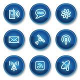 Ícones do Web de uma comunicação, teclas azuis do círculo Foto de Stock