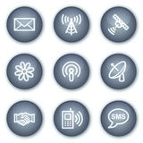 Ícones do Web de uma comunicação, teclas minerais do círculo Fotografia de Stock