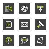 Ícones do Web de uma comunicação, teclas quadradas cinzentas Foto de Stock Royalty Free