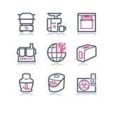 Ícones do Web do contorno da cor, 17 Imagem de Stock Royalty Free
