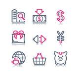 Ícones do Web do contorno da cor, 24 Imagem de Stock Royalty Free