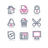 Ícones do Web do contorno da cor, 7 Imagem de Stock Royalty Free