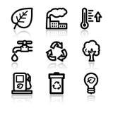 Ícones do Web do contorno da ecologia ilustração do vetor