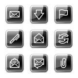 Ícones do Web do email, série lustrosa das teclas Foto de Stock