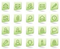Ícones do Web do email, série verde do original Fotos de Stock