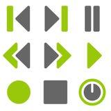 Ícones do Web do jogador, ícones contínuos cinzentos verdes imagens de stock royalty free