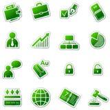 Ícones do Web do negócio, série verde da etiqueta Fotografia de Stock Royalty Free