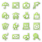 Ícones do Web do serviço de hotel, série verde da etiqueta Foto de Stock Royalty Free