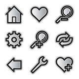 Ícones do Web do vetor, ferramentas de prata do contorno Imagem de Stock Royalty Free