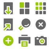 Ícones do Web do visor da imagem, ícones contínuos cinzentos verdes Imagens de Stock