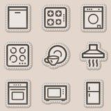Ícones do Web dos aparelhos electrodomésticos, etiqueta marrom do contorno ilustração do vetor