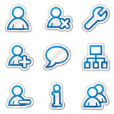 Ícones do Web dos usuários, série azul da etiqueta do contorno Foto de Stock Royalty Free