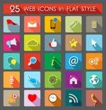 25 ícones do Web Estilo liso Foto de Stock