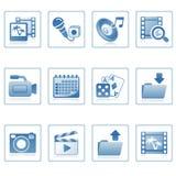 Ícones do Web: multimédios no móbil Imagens de Stock