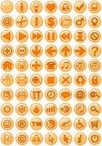 Ícones do Web na laranja Foto de Stock Royalty Free