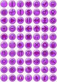 Ícones do Web no roxo Imagens de Stock