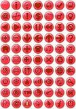 Ícones do Web no vermelho Imagem de Stock