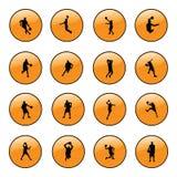 Ícones do Web site do basquetebol Imagens de Stock