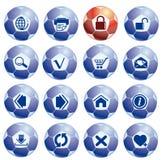Ícones do Web site e do Internet nas esferas de futebol Fotografia de Stock