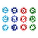 Ícones do zodíaco Fotos de Stock