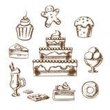 Ícones doces das sobremesas com bolo e pastelaria ilustração stock