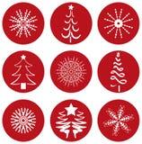 Ícones dos ícones do Natal Fotografia de Stock Royalty Free