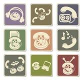 Ícones dos ícones do telefone Fotografia de Stock