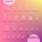 Ícones dos acessórios da beleza ajustados e símbolos da composição Fotos de Stock Royalty Free