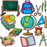 Ícones dos acessórios da escola ajustados Foto de Stock