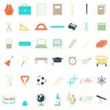 Ícones dos acessórios da escola ajustados Imagem de Stock